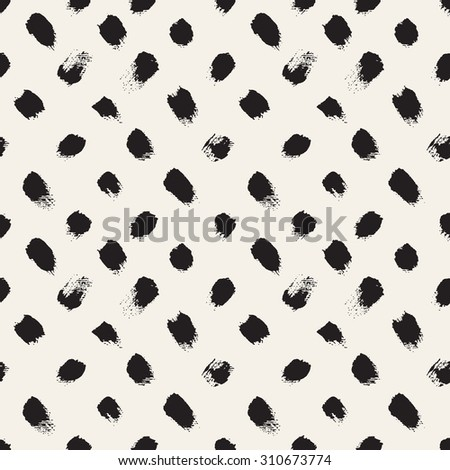 Vector seamless pattern. Abstract background with brush strokes. Monochrome hand drawn texture. - stock vector