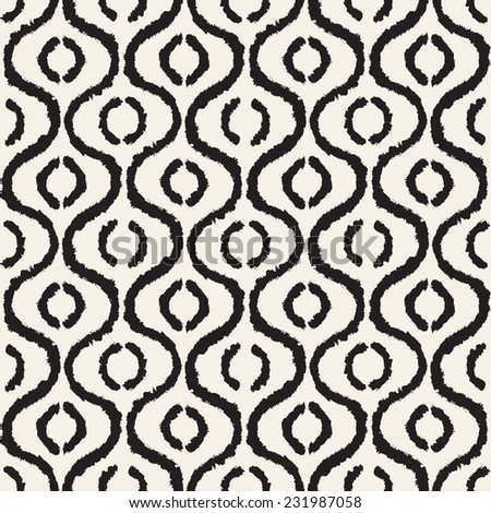 Vector seamless pattern. Abstract background with brush strokes. Monochrome hand drawn texture with waves and rings - stock vector