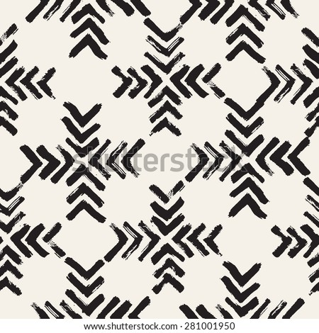 Vector seamless pattern. Abstract background with brush strokes. Monochrome hand drawn texture with chevron. Hipster trendy graphic design.  - stock vector