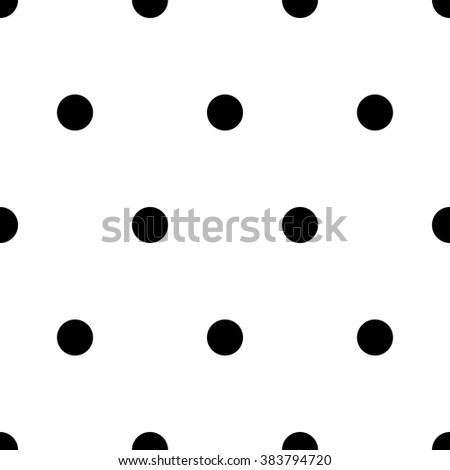 Vector seamless pattern. Abstract background with circles. Black and white polka dot ornament - stock vector