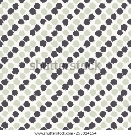 Vector seamless pattern. Abstract background with diagonal stripes from round brush strokes. Simple hand drawn texture with dark blue and khaki circles - stock vector