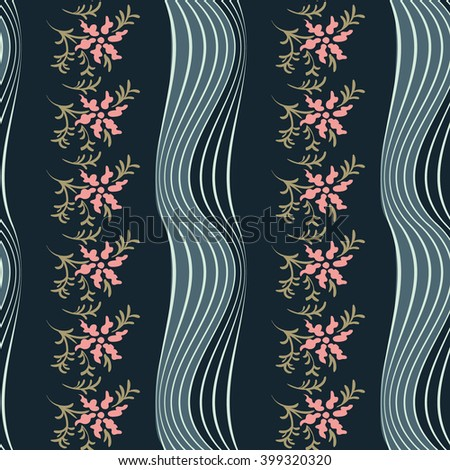 Vector seamless pattern.Abstract background with flowers. Modern floral texture.  - stock vector