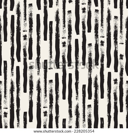 Vector seamless pattern. Abstract background with long brush strokes. Monochrome hand drawn texture - stock vector