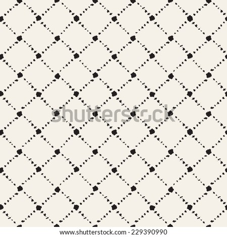 Vector seamless pattern. Abstract background with rhombuses. Small spots of brush strokes forming geometric ornament. Monochrome hand drawn texture - stock vector