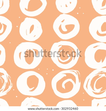 Vector seamless pattern. Abstract background with round brush strokes.  - stock vector