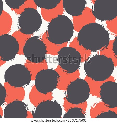 Vector seamless pattern. Abstract background with round brush strokes. Simple hand drawn texture with red and dark circles. - stock vector