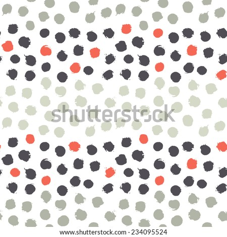 Vector seamless pattern. Abstract background with round brush strokes. Simple hand drawn texture with red, blue and khaki spots - stock vector