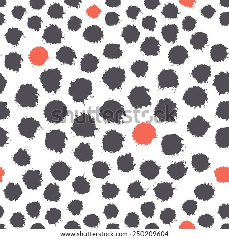 Vector seamless pattern. Abstract background with round brush strokes. Simple hand drawn texture with dark blue circles and randomly red accents - stock vector