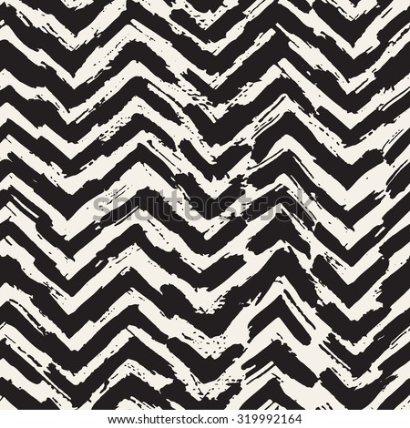 Vector seamless pattern. Abstract background with zigzag brush strokes. Monochrome hand drawn texture. Stylish hipster print. - stock vector