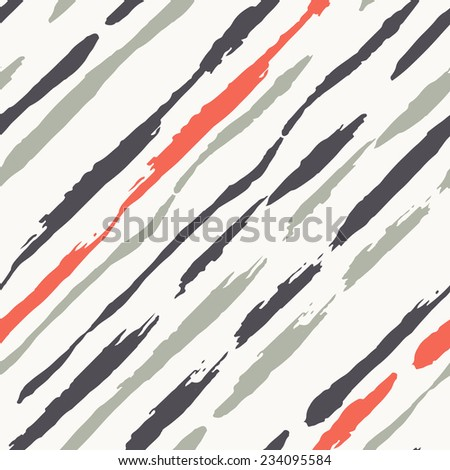 Vector seamless pattern. Abstract colorful background with brush strokes. Striped hand drawn texture. Diagonal stripes in contrast colors. Cute pattern from brush strokes. Artistic tileable theme - stock vector