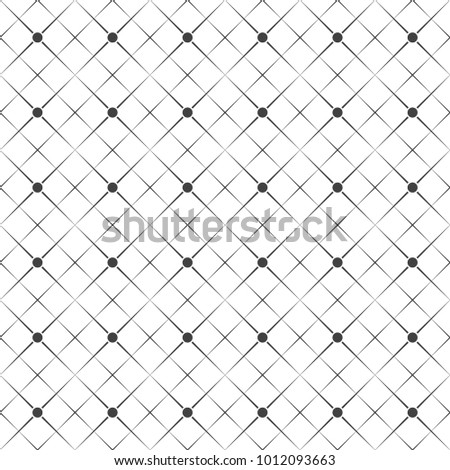 Vector seamless pattern. Abstract geometric background. Simple elegant texture with thin lines. Regularly repeating geometrical linear grid with rhombuses, dots. Contemporary design