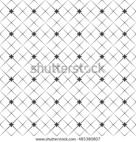 Vector seamless pattern. Abstract geometric background. Simple elegant texture with thin lines. Regularly repeating geometrical linear grid with rhombuses, stars. Contemporary design