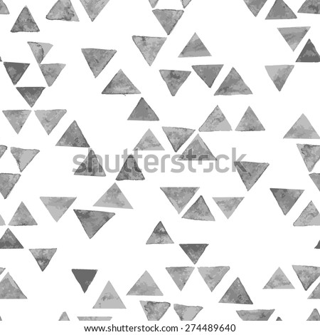 Vector seamless pattern. Abstract geometric background. Watercolor texture with grey triangles. Hipster trendy graphic design. - stock vector