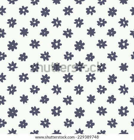 Vector seamless pattern. Abstract grunge texture with monochrome flowers. Cute background with daisies. Primitive painting style - stock vector