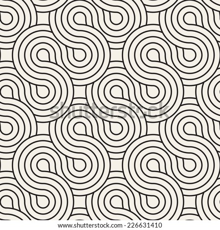 Vector seamless pattern. Abstract stylish background. Wavy geometric texture with winding diagonal ribbon. Monochrome striped loopy ribbon