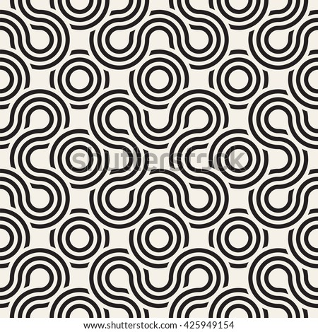 Vector seamless pattern. Abstract stylish background. Wavy geometric texture with winding  ribbon. Monochrome striped loopy ribbon