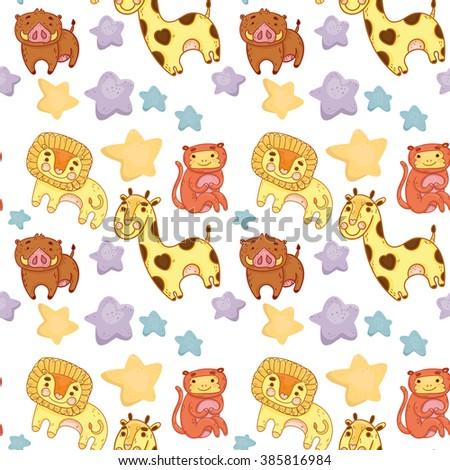 vector seamless pattern african animals child cartoon white background lion giraffe monkey pig - stock vector