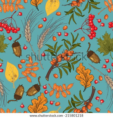 Vector seamless pattern, autumn. Mountain ash, buckthorn, acorns and leaves on blue background. - stock vector