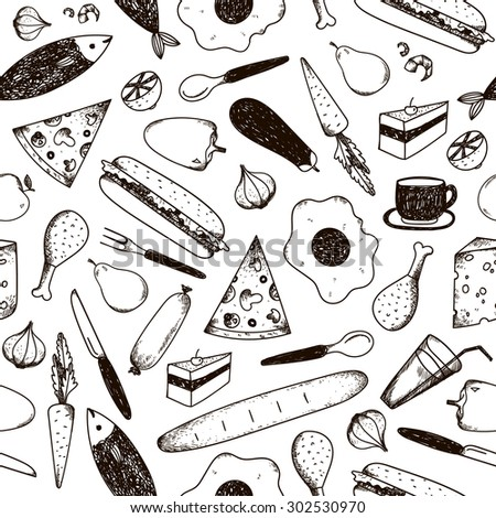 Vector seamless pattern, background black and white food. Pizza, fish, sandwich, carrot, meet, etc. - stock vector