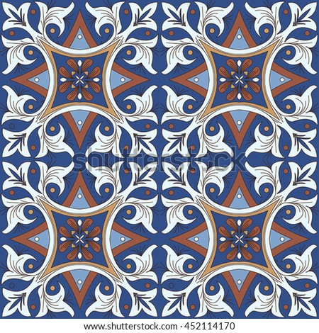 Vector seamless pattern background in blue. For wallpaper, backgrounds, decoration for your design, page fill and more.