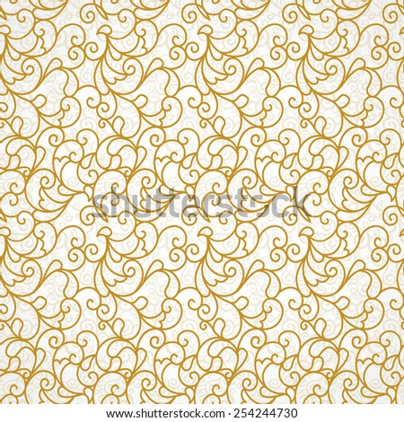 Vector seamless pattern background with golden scroll ornament. Vintage element for design in line art style. Ornamental lace backdrop. Ornate floral decor for wallpaper. Endless vintage texture. - stock vector