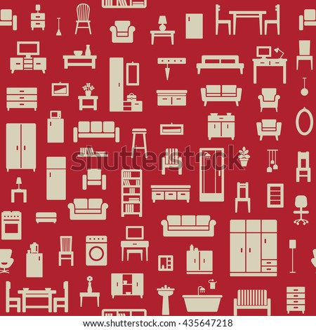 Vector seamless pattern background with home furniture icons 6
