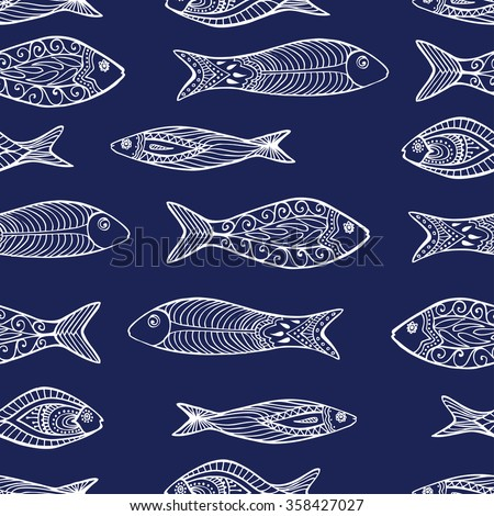 Vector seamless pattern. Beautiful hand drawn colorful fishes with floral elements