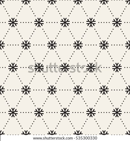 Vector seamless pattern. Christmas texture with linear snowflake. Holiday graphic background.