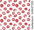 Vector Seamless Pattern consist of Prints of Lips - stock photo