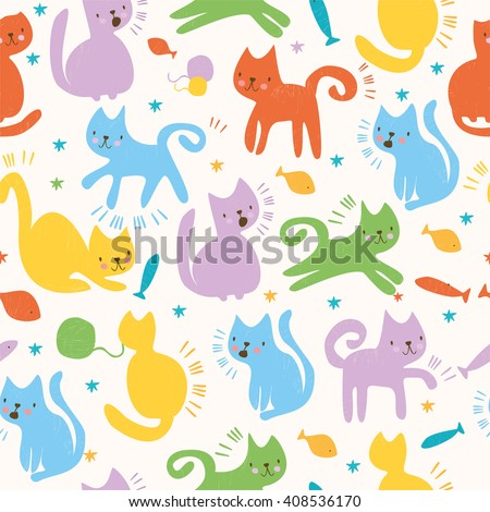 vector set simple cute cats colored stock vector 394547989