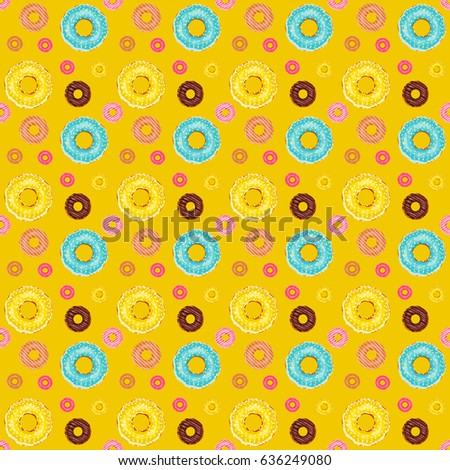 Vector seamless pattern. Cute donuts with colorful glazing or cream on polka dot background. Yummy cookie sweets, food or candy decoration. Flat lay style, pattern for festive, tasty design