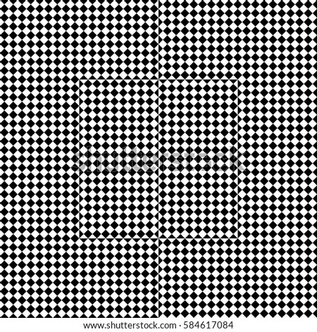 Vector seamless pattern. Decorative element, design template with black white squares and rhombuses. Background, texture with op art effect. Halftone dots for card, tile, web cover, print, badge.