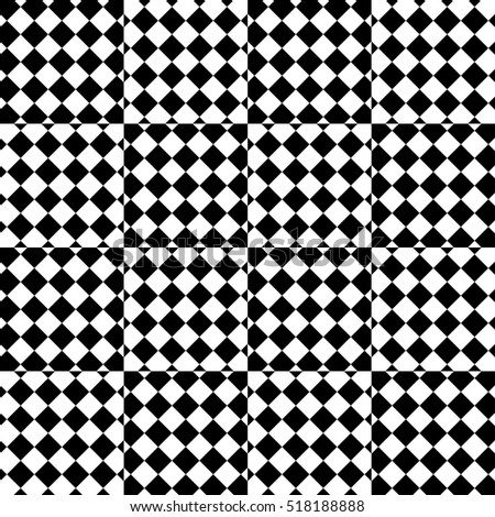 Vector seamless pattern. Decorative element, design template with striped black and white diagonal rhombus. Background, texture with optical illusion effect. Moving tiles in op art style