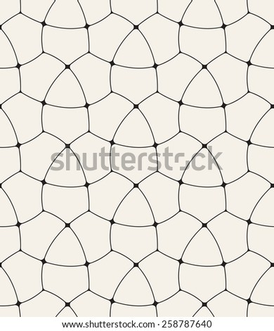 Vector seamless pattern. Decorative geometric linear grid. Linear background with rounded angles. Minimalist simple trellis. Modern graphic design - stock vector
