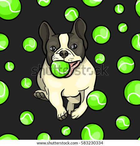 Vector seamless pattern dog playing in a tennis ball. English Bulldog running