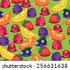 Vector seamless pattern, doodle design. Colorful illustration, cute background. Childish pattern. Endless fruit background. Berries and citrus. - stock vector