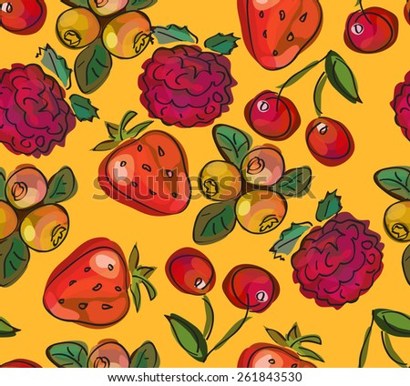 Vector seamless pattern, doodle design. Colorful illustration, cute background. Childish pattern. Endless fruit background. Berry backdrop. Watercolor imitation. - stock vector