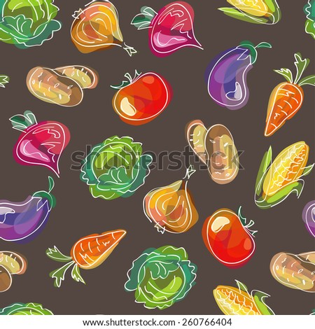Vector seamless pattern, doodle design. Colorful illustration, cute background. Endless vegetable background. Hand drawn food design. - stock vector
