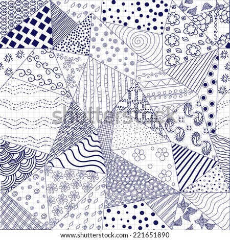 Vector Seamless Pattern. Doodle Hand-drawn Background.