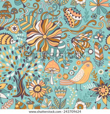 Vector seamless pattern, doodling floral design. Hand draw trees and leafs over the city. Season of the rain, illustration, cute background. Color doodle background - stock vector