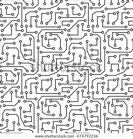 vector seamless pattern electronic circuit board stock