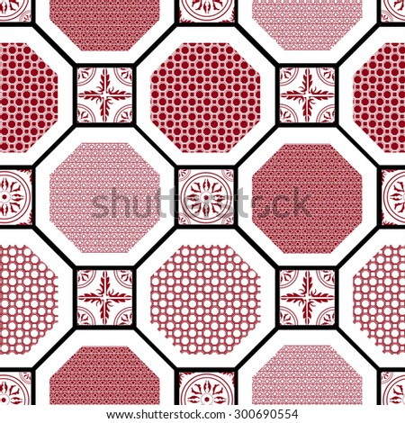Vector seamless pattern. Elements in the form of a polyhedron - stock vector