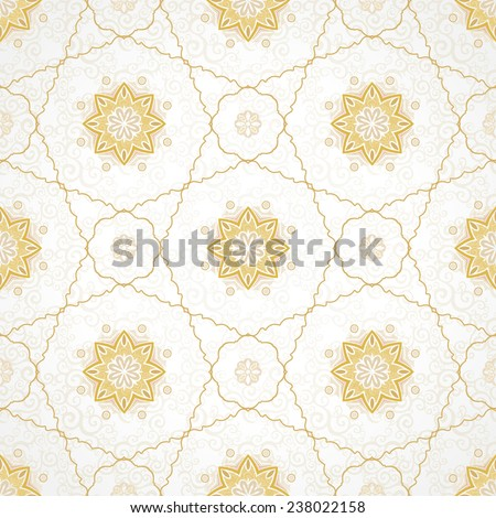 Vector seamless pattern, filigree background. Vintage element for design in Eastern style. Ornamental golden tracery. Ornate floral decor for wallpaper. Endless texture. Delicate pattern fill. - stock vector