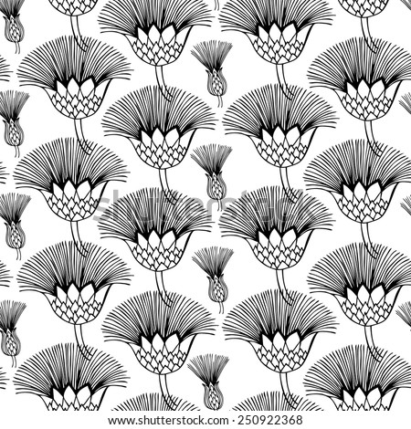 Vector seamless pattern. Floral background. Hand drawn elements. Black and white. - stock vector