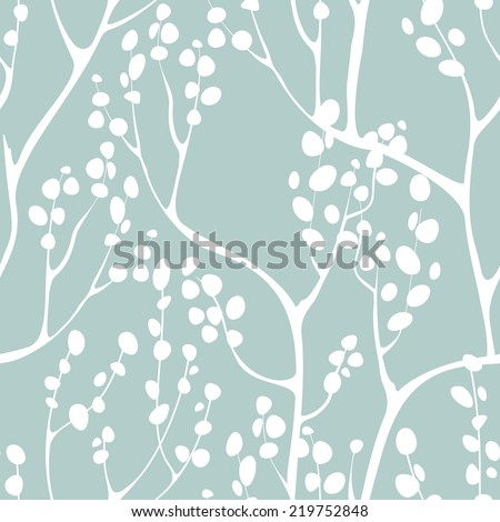 Vector seamless pattern. Floral background. Vertical branches with delicate leaves - stock vector