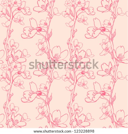 Vector seamless pattern, floral illustration in vintage style - stock vector