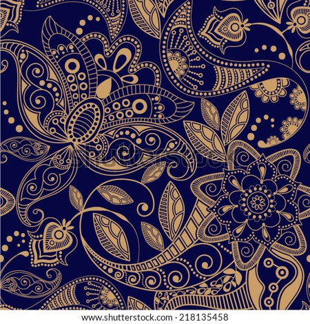 Vector seamless pattern. Floral ornamental background - stock vector