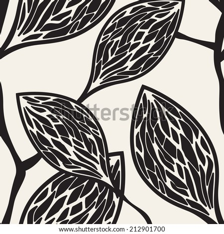 Vector seamless pattern. Floral stylish background. Branches eith structured leaves - stock vector