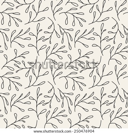 Vector seamless pattern. Floral stylish background. Delicate silhouette of branches. Hand drawn linear doodle - stock vector