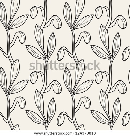 Vector seamless pattern. Floral stylish background. Graphic repeating texture - stock vector